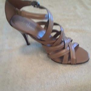 Strappy high heel beige sandals